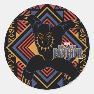 Sticker Rond Panneau de panthère noire de la panthère noire |