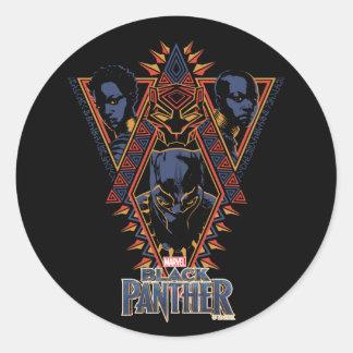 Sticker Rond Panneau de tribal de guerriers de la panthère
