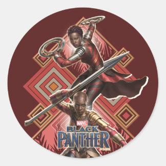 Sticker Rond Panthère noire | Nakia et graphique d'Okoye