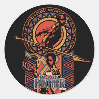 Sticker Rond Panthère noire | Okoye et panneau de Nakia