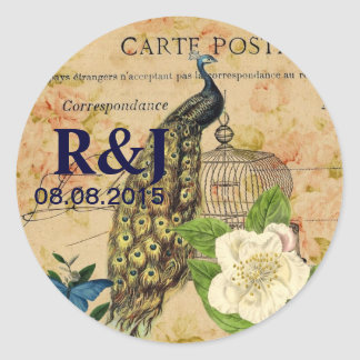 Sticker Rond paon botanique français de cru de cage à oiseaux