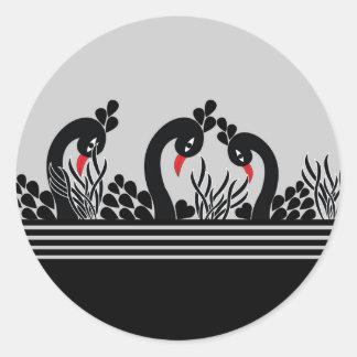 Sticker Rond paon noir