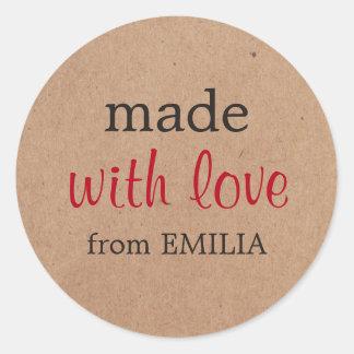 Sticker Rond Papier d'emballage minimal frais fait avec amour