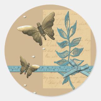 Sticker Rond Papillon en métal de Steampunk