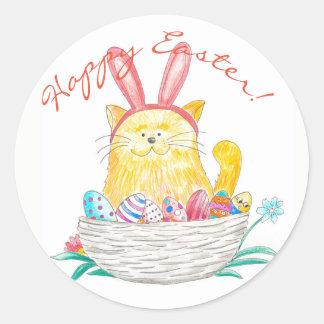 Sticker Rond Pâques Kitty //Joyeuses Pâques
