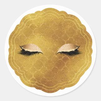 Sticker Rond Partie de beauté de mèches de cils de maquillage