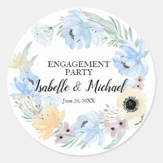 Sticker Rond Partie de fiançailles florale d'aquarelle bleue,