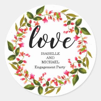 Sticker Rond Partie de fiançailles personnalisée par guirlande