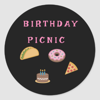 Sticker Rond Partie de pique-nique d'anniversaire