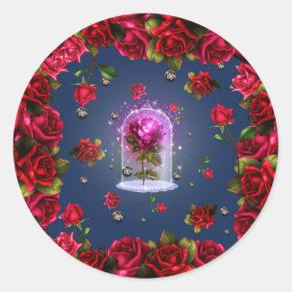 Sticker Rond Partie florale bleue magique enchantée de Bling de