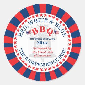 Sticker Rond Partie rouge, blanche et bleue de BBQ 4 juillet