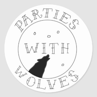 Sticker Rond Parties avec l'autocollant de loups