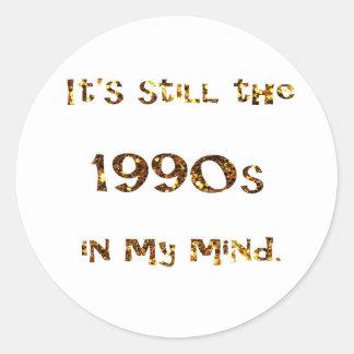Sticker Rond parties scintillantes d'or de nostalgie des années