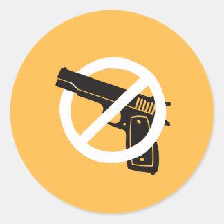 Sticker Rond Pas plus d'armes à feu (autocollants - jaune)