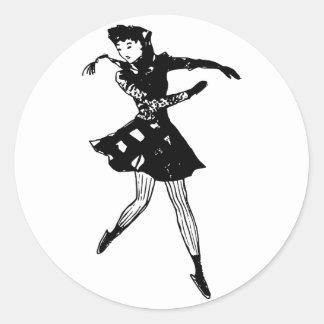 Sticker Rond Patinage de Madame glace