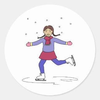 Sticker Rond Patineur artistique de fille de patinage de glace