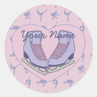 Sticker Rond Patins nommés personnalisés de coeur de patinage