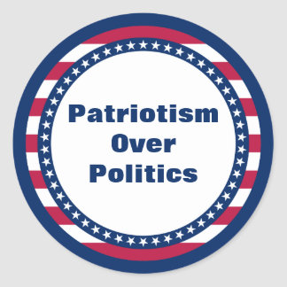 Sticker Rond Patriotisme de bannière étoilée au-dessus de la