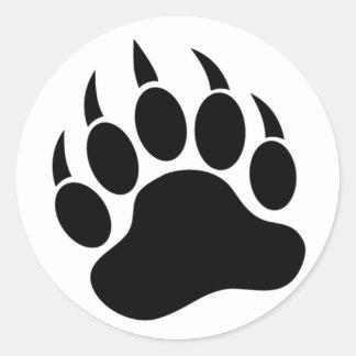 Sticker Rond Patte d'ours/griffe classiques en noir et blanc -