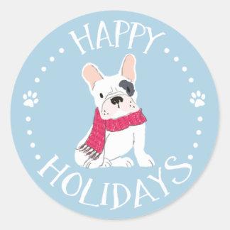 Sticker Rond Pattes de Père Noël - Chien-Orientées bonnes fêtes