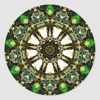 Sticker Rond Paua Shell a la belle fractale iridescente