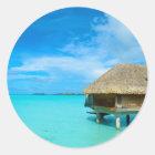 Sticker Rond Pavillon d'Overwater sur Bora Bora