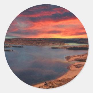 Sticker Rond Paysage de nature de Powell de lac beau