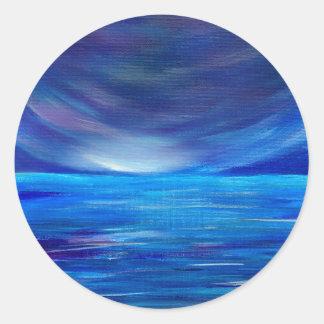 Sticker Rond Paysage marin abstrait de bleu et de pourpre