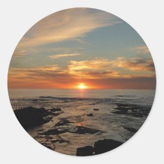 Sticker Rond Paysage marin du coucher du soleil II la