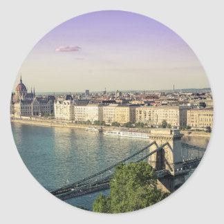 Sticker Rond Paysage urbain de Budapest