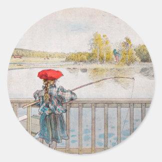 Sticker Rond Pêche de Lisbet par Carl Larsson, beaux-arts