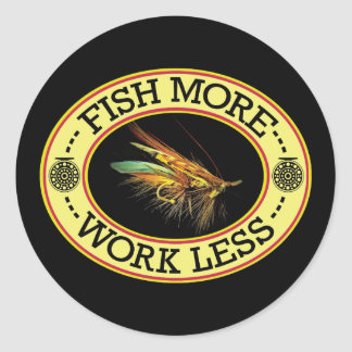 Sticker Rond Pêche de mouche saumonée