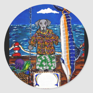 Sticker Rond Pêche de Weimaraner Marlin