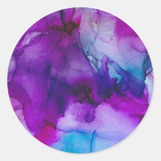 Sticker Rond Peinture abstraite d'encre de galaxie
