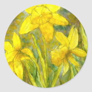 Sticker Rond Peinture d'aquarelle, art jaune de fleurs,