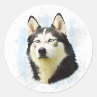 Sticker Rond Peinture d'art de couleur d'eau de chien de chien