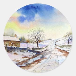 Sticker Rond Peinture de paysage hivernale d'aquarelle de