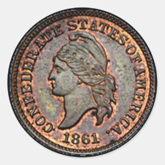Sticker Rond Penny de cuivre de la guerre civile 1861