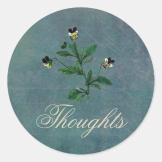 Sticker Rond Pensées de vous avec les altos botaniques