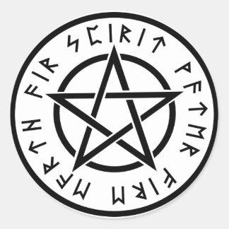 Sticker Rond Pentagone étoilé de blanc de Wiccan