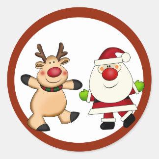 Sticker Rond Père Noël et vacances de Noël de renne