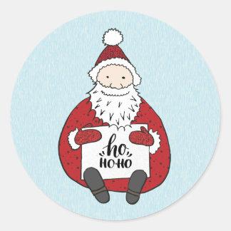 Sticker Rond Père Noël mignon dessinant Noël