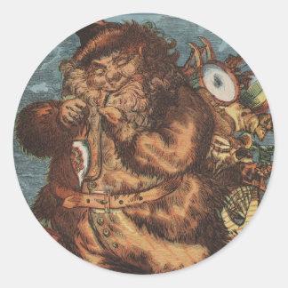 Sticker Rond Père Noël velu fumant son tuyau