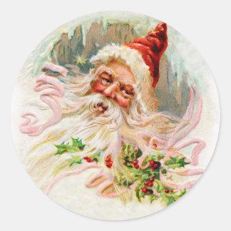 Sticker Rond Père Noël victorien rose