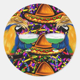 Sticker Rond Perroquet de partie de Cinco De Mayo