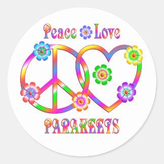 Sticker Rond Perruches d'amour de paix