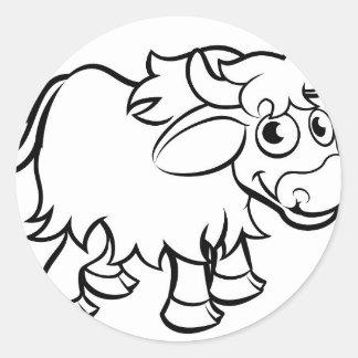 Sticker Rond Personnage de dessin animé de yaks