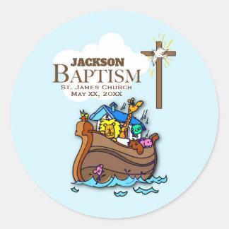 Sticker Rond Personnalisable, l'arche de Noé de baptême de bébé