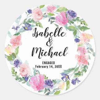 Sticker Rond Personnalisé épousant la fleur pourpre rose de