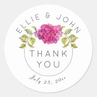 Sticker Rond Personnalisé épousant l'hortensia de roses indien